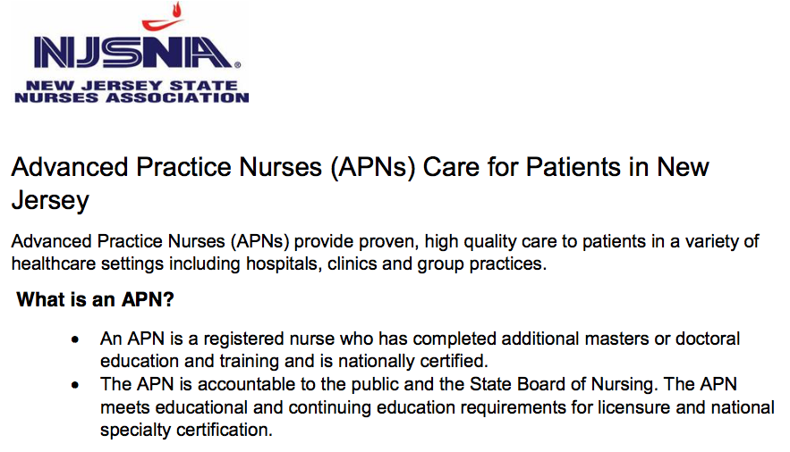 NJ Psychiatric APNs: advocacy, education and clinical excellence